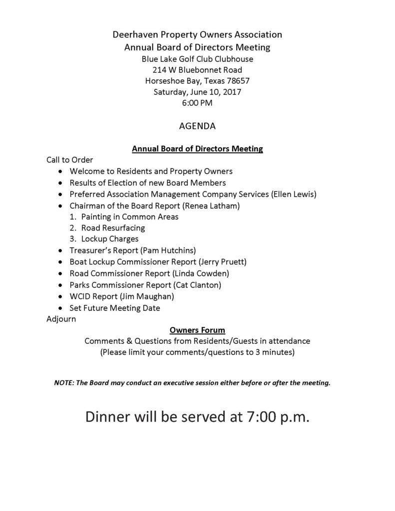 Deerhaven POA Annual Board of Directors Meeting Agenda