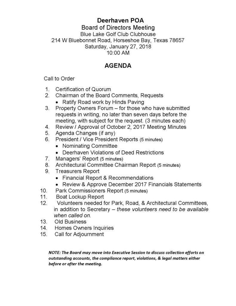 Deerhaven POA Board of Directors Meeting Agenda