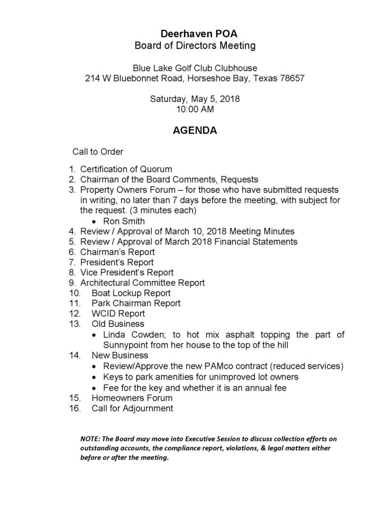 May 5th, 2018 – Board of Directors Meeting Agenda