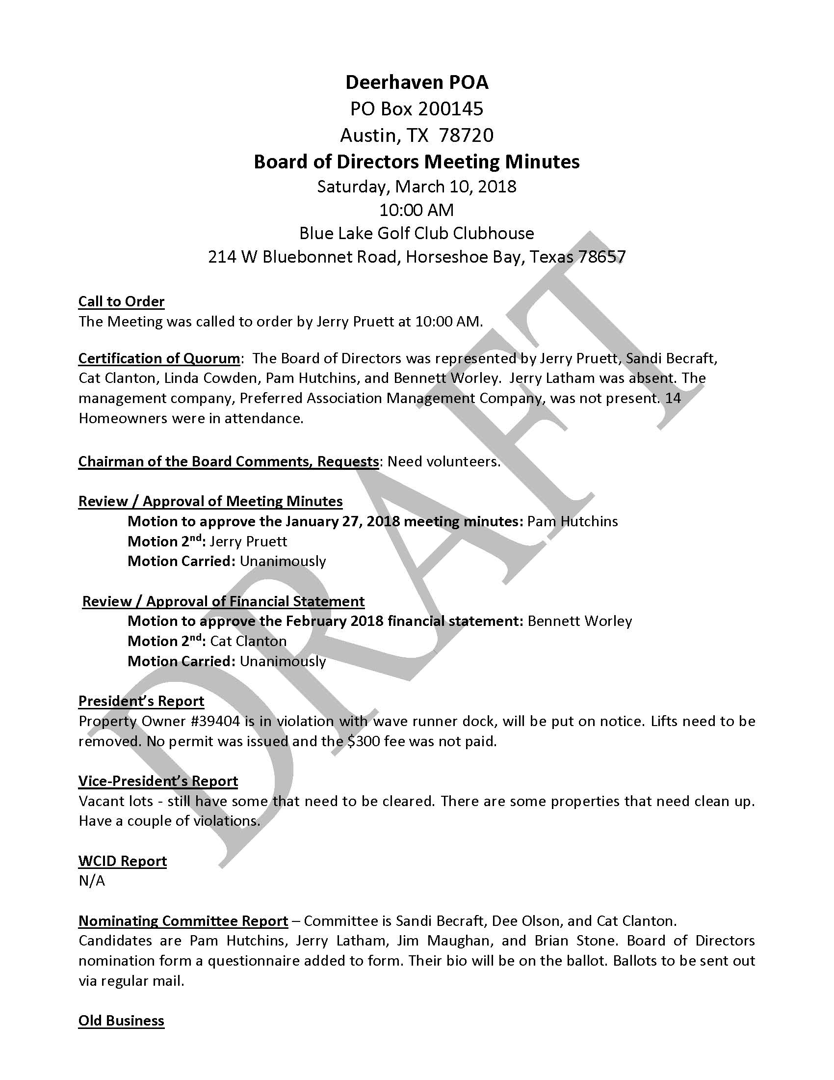 board meeting minutes 3  10  18